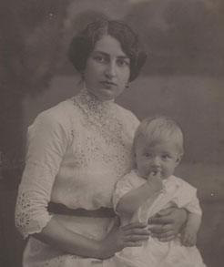 With his mother, Marija.