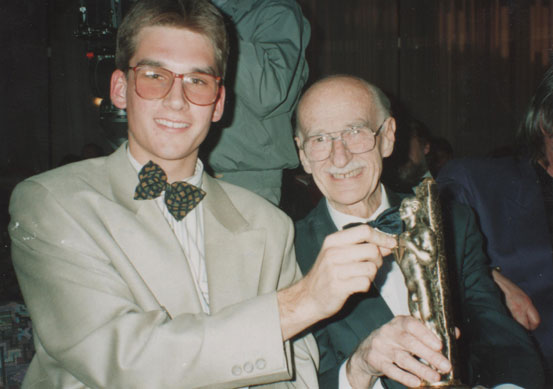 Awarding Victors for lifework: Bojan Adamič with his grand-son, Gregor Makuc.