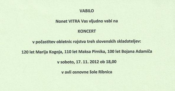 Koncert ženskega zbora Nonet Vitra, Ribnica 2012