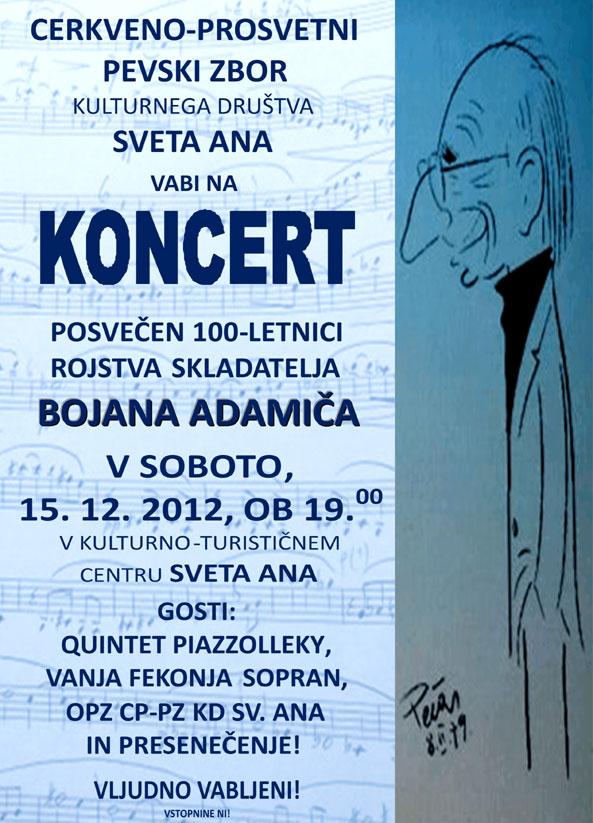 Koncert v Kulturno-turističnem centru Sveta Ana v Slovenskih goricah, 15. 12. 2012