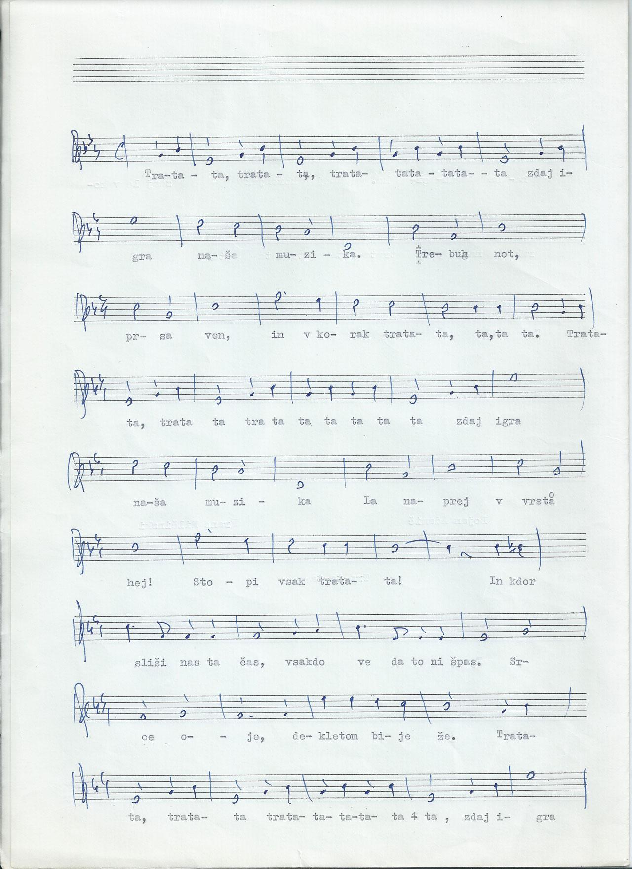 Adamičeva Tra-ta-ta uradna himna slovenskih in zamejskih godb